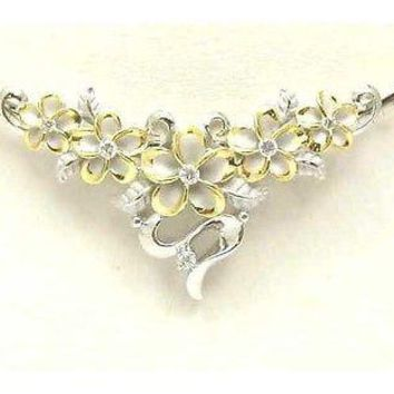 SILVER 925 HAWAIIAN 5 FANCY PLUMERIA SLIDER RHODIUM YG