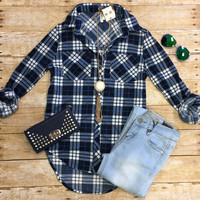What I like about you Plaid Flannel Top: Blue