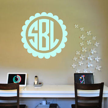 Large Scalloped Monogram Custom Wall Decal - Monogrammed Wall Decal - Monogrammed Interior Sticker -  Monogrammed Gift