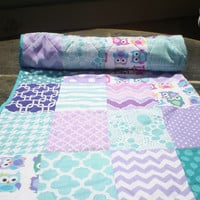 Baby girl quilt,patchwork crib quilt,baby girl bedding,toddler,woodland,rustic,teal,aqua,purple,owls,chevrons,dot,bright colors,Bold Owls