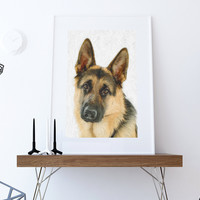 German Shepherd Dog Print illustration Art Print Poster Giclee on Cotton Canvas and Paper Canvas Wall Decor