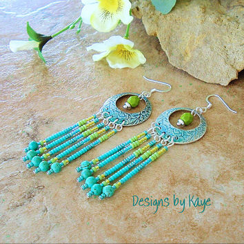Boho Jewelry, Turquoise/Green Chandelier Earrings,  Earthy Colorful Earrings, Gypsy Hippie, Original Handmade Bohemian Designs by Kaye