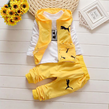 New autumn/spring Baby Boys clothing Sets kids 3PCS Vest+ T shirt + Pants children Cute Casual suit Sport kids boys outfits