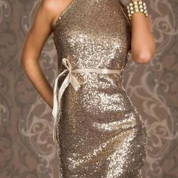 Streetstyle  Casual Apricot Plain Sequin Backless Halter Neck Band Collar Club Bodycon Mini Dress