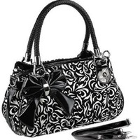 MG Collection Tweed Floral Bow Accent Design Shoulder Bag, Black, One Size