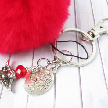 Tree of Life Keychain, Pom Pom Keychain, Rabbit Fur Keychain, Angel Keychain, Fluffy Keychain, Red Fur Keychain