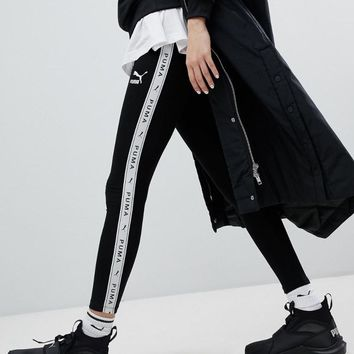 Puma Taped Side Stripe Black Leggings