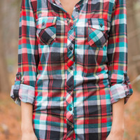 Plaid Crazy Top, Red/Teal