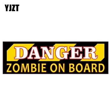 YJZT 12CM*3.5CM Warning Danger Zombie On Board Car Sticker PVC Funny Decal 12-1162