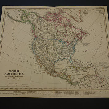 America Old Map Of North America 1859 Large Original Hand Colored Antique Map Usa