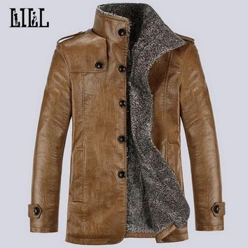 Men's Motorcycle Leather Jackets Thick Wool