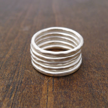 silver stacking rings - set of 5