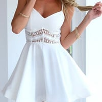 White Strappy Lace Waist Skater Dress