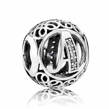 A-R Authentic 925 Sterling Silver Bead Charm Openwork Alphabet 26 Letter With Crystal