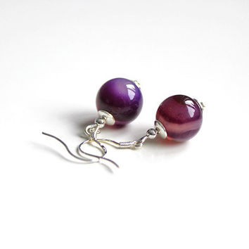 purple agate silver earrings :: gemstone jewelry