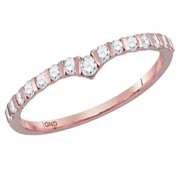 14kt Rose Gold Women's Round Diamond Chevron Stackable Band Ring 1/4 Cttw - FREE Shipping (US/CAN)