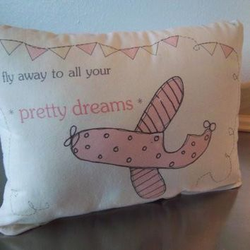 Travel themed nursery gift pillow pink airplane throw pillow