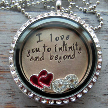 I love you to infinity and beyond Stainless Steel Crystal memory locket with crystal infinity, red heart floating charm, Hand Stamped plate