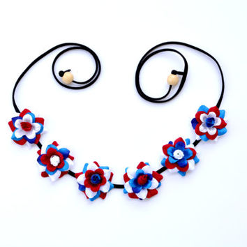 USA Flower Crown American Floral Halo Red White Blue Patriotic Flower Halo Floral Crown Hippie Headpiece July 4th American Headband