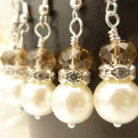 Bridesmaids earrings vintage ivory white glass pearls champagne crystals rhinestones silver