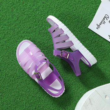 Candy Color Peep Toe Stappy Solid Croc Jelly Shoes