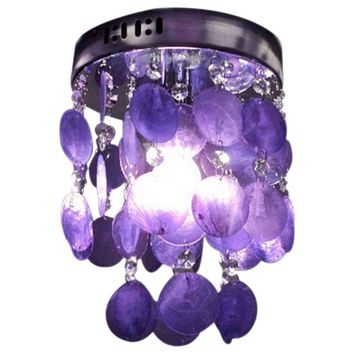 Child Bedroom Purple Crystal Shell Pendant Lamp Chandelier Ceiling Fixture light
