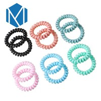 M MISM 1 set =2 pcs Candy Color Children Rubber Bands Telephone Wire Elastic Spiral Hair bands Plastic Rope Hair Accessories