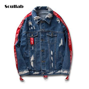 soullab high quality men top belted trench fashion designer hip hop street denim Korean jacket coat swag Justin Bieber clothes