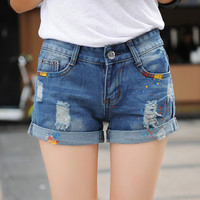 2017 New paint Hole personalized denim shorts Lady Jean Shorts hole BF Style Blue Plus size Ripped Women Slim Short Z1948