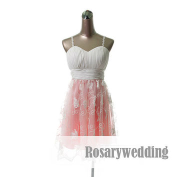 Spaghetti straps cute white pink formal by Rosaryweddingdress