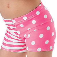 NEW Dance Gymnastics Cheer Colorful Print Booty Mini Bar Shorts Child & Adult