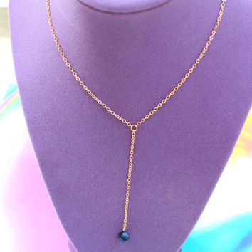 Gold Chain Black Crystal Pendant Necklace, Gold Necklace, Gold Chain, Black Crystal, Grunge Necklace, Boho Necklace