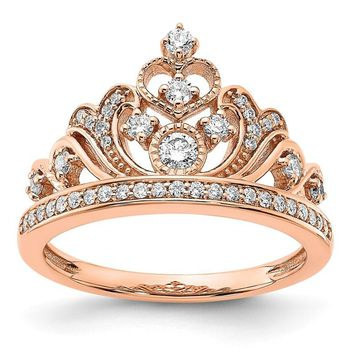 14k Rose Gold 0.391 CTW Diamond Tiara Crown Ring
