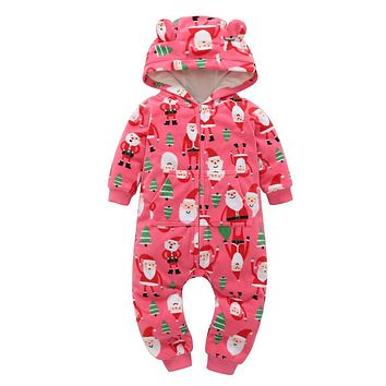 Christmas cute baby boy one-piece hooded with zipper jumpsuit cotton cute baby girl clothes infatil winter outfits