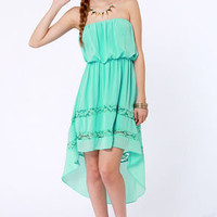 High-Low, How Are You? Strapless Mint Dress