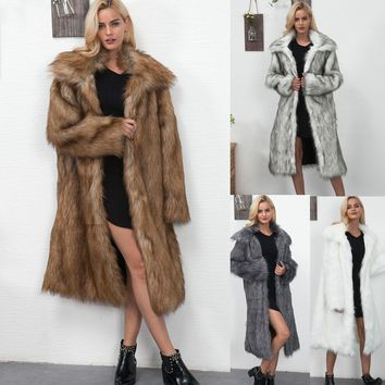 Fashion Womans Winter Fur Coat Solid Faux For Fur Coats Women Full Sleeve Thick Fake Fur Overcoats For Women Casual Warm Outwear