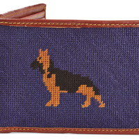 Dog Needlepoint Wallet, Navy, Wallets