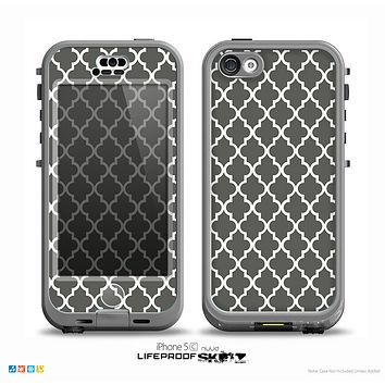 The Gray & White Seamless Morocan Pattern Skin for the iPhone 5c nüüd LifeProof Case