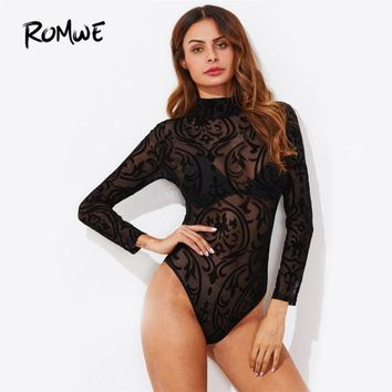 ROMWE Mock Neck See Through Bodysuit 2017 New Arrival Black Long Sleeve Sexy Bodysuit Autumn Fashion Female Bodysuit