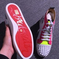 PEAPNW6 Cl Christian Louboutin Louis Spikes Style #1887 Sneakers Fashion Shoes