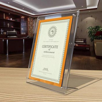 Wall Mounted and Desktop Acrylic Plexiglass Photo Picture Frame Certificate Frames PF048