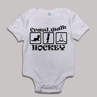 Crawl Walk Hockey Baby Bodysuit Baby Shower Baby Onesuit Baby Suit Baby One New Born Boy Girl Kids Child Children Clothes Gift Present
