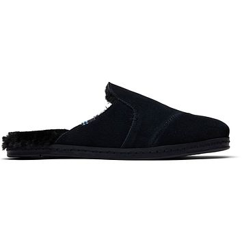 TOMS - Women's Nova Leather Wrap Black Suede Faux Fur Slip-Ons