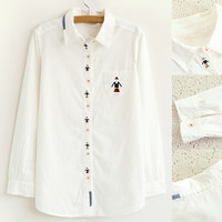 Cute Cartoon Embroidery Long Sleeve Button Down Blouse