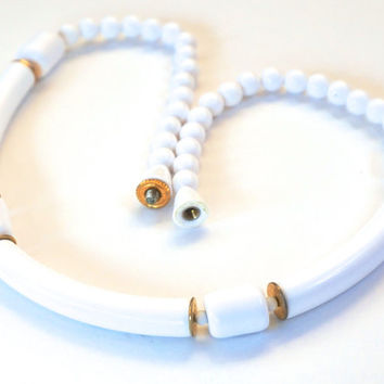Vintage SARAH COVENTRY Choker,Sarah Cov. White Magic,Lucite Tube White Bead Choker,White Necklace,Boho Necklace,White Choker,Bridal Necklace
