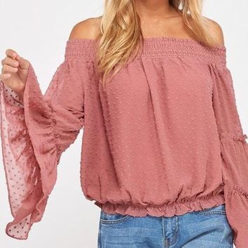 smocked sheer off the shoulder bell sleeved swiss dot top - mauve