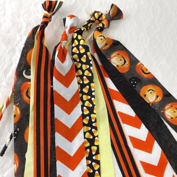 12 Halloween Party Favors, Jack O Lanterns Candy Corn & Chevron, Fabric Bell Wand, Halloween Wedding, Trick or Treat, Spooky Party Decor