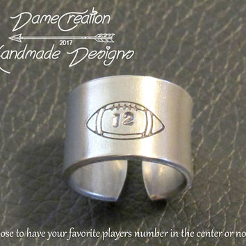 Customized Ring for Him, Ring Engraved Customized Jewelry, Football Men Gift, Proud Football Mama Jewelry, Football for Girlfriend Gifts