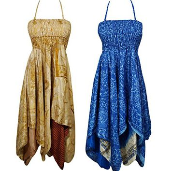 Lot Of 2 Lara Womens Beach Dress Recycled Sari Handkerchief Hem Summer Halter Dress S/M