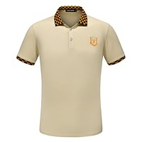 LV Louis Vuitton 2018 Summer New Men's Half Sleeve Polo Shirt Short Sleeve T-Shirt F-A00FS-GJ Khaki